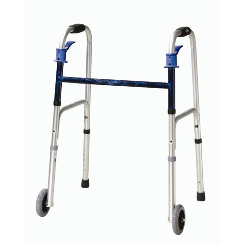 """Drive Deluxe Trigger Release Folding Walker with 5"""" Wheels"""