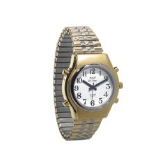 Mens Royal Tel-Time Bi-Color Talking Watch w/White Dial - Expansion Band