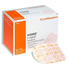 "Smith & Nephew IV3000 1-Hand Delivery Catheter Dressing - 4"" x 4 3/4"" - Central"