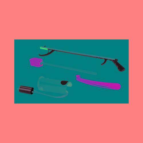 """FabLife Hip Kit 1b; 32"""" Reacher, Hourglass Sponge, Formed Sock Aid, 18"""" Plastic Shoehorn Model 188 0025"""