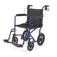 """Aluminum Transport Chair with 12"""" Wheels, Blue"""