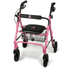 Breast Cancer Awareness Pink 4 Wheeled Rollator