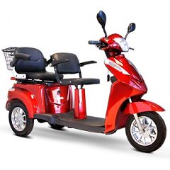 EW-66 Premium 3 Wheel 2 Passenger Mobility Scooter - Red