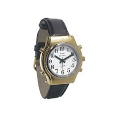 Mens Royal Tel-Time Bi-Color Talking Watch w/White Dial - Leather Band