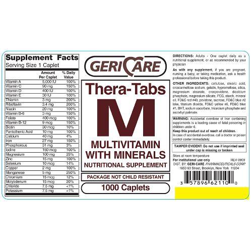 McKesson Gericare Theratabs M Multivitamin Supplement with Minerals Caplets