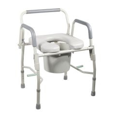Drive Steel Drop Arm Bedside Commode with Padded Seat & Arms