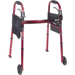 Drive Deluxe Travel Folding Walker With Fold Up Legs and Pouch