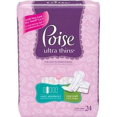 "Poise Ultra Thin Pads, Light Absorbency, 10.3"" Long"