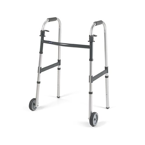 """Invacare I-Class Dual-Release Paddle Folding Walker with 5"""" Wheels - Junior Model 776 6152"""
