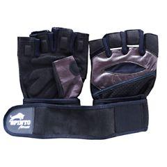 Spinto Men's Workout Glove w/ Wrist Wraps - Brown/Gray (LG)