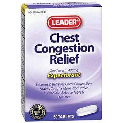 Cardinal Health Leader Guaifenesin Tablets 400 mg 50 Count