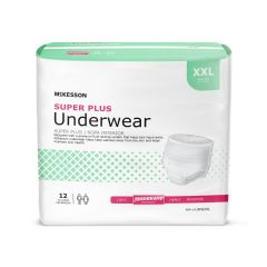 McKesson Bariatric Super Plus Adult Moderate-Absorbent Pull-On Underwear, 2XL, White
