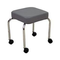 "Hausmann Stool With Casters, Grey 14"" X 14"" X 18"""