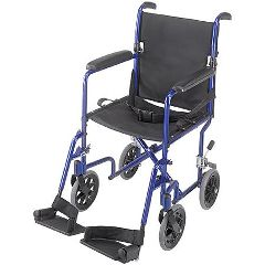 "ProBasics 17"" Lightweight Aluminum Transport Wheelchair - Blue"