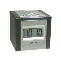 Reizen Talking LCD Alarm Cube Clock - Silver/Black