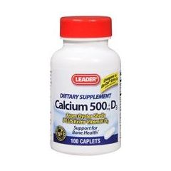 Cardinal Health Leader Calcium 500mg with Vitamin 400IU Caplets 100 Count