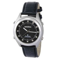 Reizen Atomic Talking Watch - Black Face with Diamond Like Stones