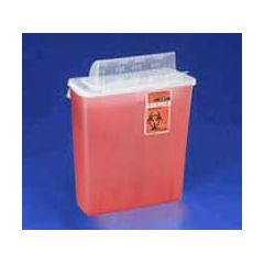 In-Room Sharps Container with Always-Open Lid - 12 qt, Transparent Red
