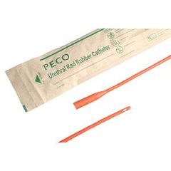PECO Male Straight Tip Red Rubber Intermittent Catheter