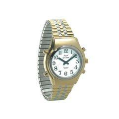 Royal Mens Royal Tel-Time Bi-Color Talking Watch w/White Dial- Expansion Band