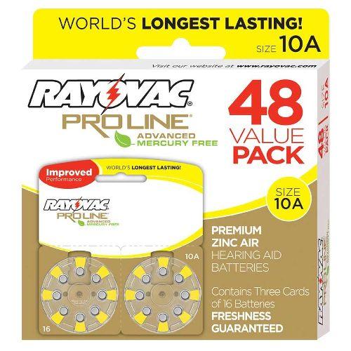 Spectrum Brands Inc Rayovac Proline Advanced Mercury-Free Hearing Aid Batteries 48/Box Size 10 Model 083 5084