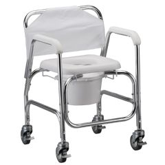 "Shower Chair and Commode with 4"" Locking Swivel Wheels"
