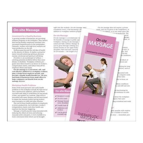 Jji Web Solutions On-Site Chair Massage Brochure 50 Pack Model 243 0266