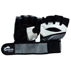 Spinto Men's Workout Glove w/ Wrist Wraps - White/Gray (MD)