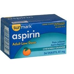 Sunmark Chewable Aspirin Pain Relief Tablet.