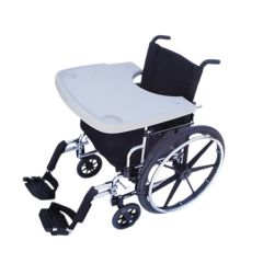 Fabrication Wheelchair Tray With Rim And Cup Inserts, Sand Colored