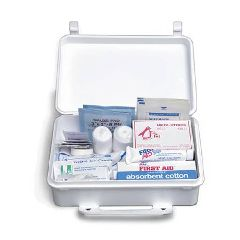 25 Person First Aid Kit, White Plastic Case