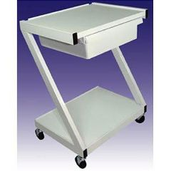 Ideal Steel 2 Shelf Cart With Drawer - White