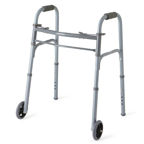 """Medline Youth Two-Button Folding Walkers with 5"""" Wheels Model 776 574236 02"""