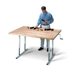 "Hausmann Deluxe Crank Butcher Block Table 48"" x 66"""