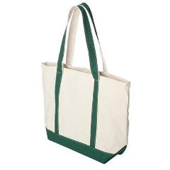 Cmfi Group Massage Canvas Boater Tote Bag- Natural Beige & Forest Green