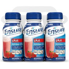 Ensure Plus Nutritional Shakes 8 fl oz Reclosable Plastic Bottles - 350 Calories - Case of 24