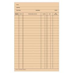 Patterson Office Supplies Stock Fold-A-Log Ledger Card Blank, 100/Pkg