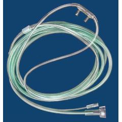 McKesson ETCO2 Nasal Sampling Cannula with O2 | Green, Male Luer-Lok / 2 Inch Pigtail Female Luer-Lok, 7 Foot O2 / 2 Inch CO2 Sampling Line