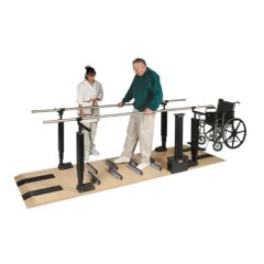 Hausmann Parallel Bars, Wood Platform Mounted, Electric Height/Manual Width Adjustable, 15 Foot Long