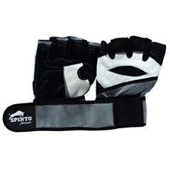 Spinto Men's Workout Glove w/ Wrist Wraps - White/Gray (LG)