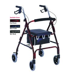 Flame Finish Aluminum Rollator with Loop Brakes
