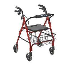 "Deluxe Aluminum Rollator with Plastic Seat, 6"" Casters with Lever Locks and Basket"