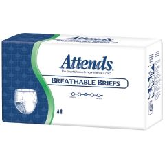 """Attends Heavy Absorbency Breathable Adult Incontinence Briefs - Large 44"""" - 58"""""""