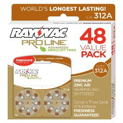 Spectrum Brands Inc Rayovac Proline Advanced Mercury-Free Hearing Aid Batteries 48/Box Size 312