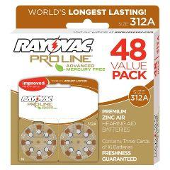Rayovac Proline Advanced Mercury-Free Hearing Aid Batteries 48/Box Size 312