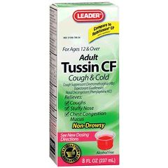 Cardinal Health Leader Tussin CF For Cough and Cold Relief Liquid Formula