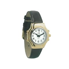 Ladies Royal Tel-Time Bi-Color Talking Watch w/White Dial-Leather Band