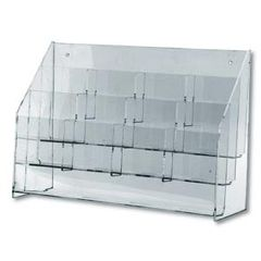 "Beemak Plastics Clear Lucite Multi-Pocket Rack 12 Pkts Holds 4""X9"""