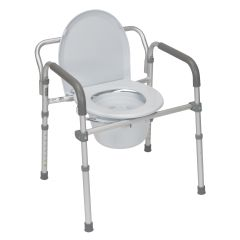 Drive Aluminum Folding Commode with Padded Armrests