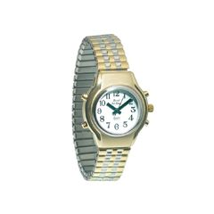 Ladies Royal Tel-Time Bi-Color Talking Watch w/White Dial-Expansion Band